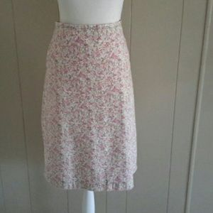 GAP Pink Flowers Calico Print Cotton Skirt SZ 14